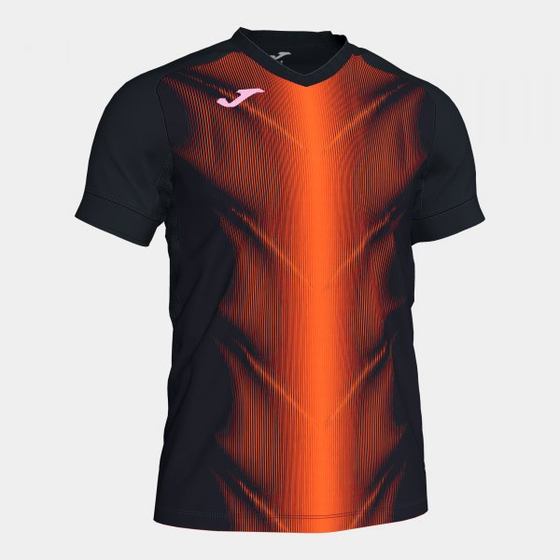 JOMA OLIMPIA T-SHIRT BLACK-ORANGE S/S